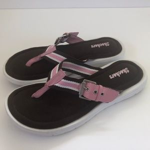 Skechers Pink and Brown Thong Sandals
